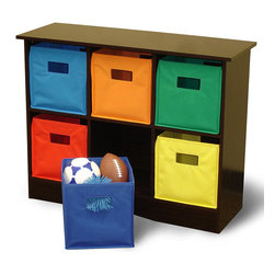 None - RiverRidge Kids Espresso Finish 6-bin Storage Cabinet - This espresso-colored wood storage cabinet is perfect for a childs bedroom or play room. It features six compartments that hold the coordinating,brightly-colored bins. Use the bins to store toys,books,clothes or other necessities.