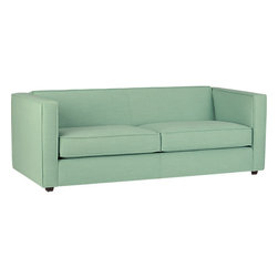 Club Spray Sofa - CB2 is spot on with the pastel cheer with their Club Spray sofa. Its modern lines and soft green hue will steal the spotlight long after the change of seasons.