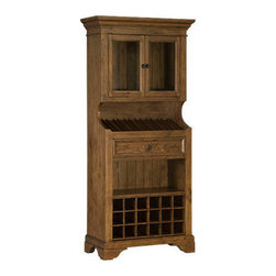 Hillsdale Furniture - Hillsdale Tuscan Retreat Tall Slanted Wine Rack - Tuscan Retreat accent pieces are authentic artisan interpretations of old world and cottage furniture. Each piece is crafted from new and restored timbers to give it the appearance of a century old treasure. The finishes are hand prepared from the sanding and scarping to the final steps. Every nick, knot, nail hole patch, and seasoned crack add character to this piece, not to mention the unique slanted wine display feature. Featuring solid wood throughout, a glass door display cabinet, shelf storage, and an additional 18 bottle wine rack option, this piece is designed to bring you years of enjoyment