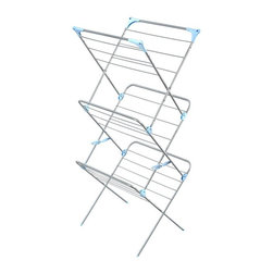 Minky Homecare - Minky Homecare 3 Tier Indoor Drying Rack - Silver - IH86490100V - Shop for Drying Racks from Hayneedle.com! The idea that investing in new electronic gadgetry to save money and energy seems a bit backward whereas actually looking backward to the Minky Homecare 3 Tier Indoor Drying Rack - Silver seems more than reasonable. Before electric clothing dryers were an every-household item line drying garments was the standard. Hang or flat drying garments and linens isn't just economically and ecologically more efficient using no electrical energy output; it is also easier on the material itself helping you extend the life of your textiles. This drying rack has ample drying room to handle full loads. The three tiers provide plenty of space for flat drying while the 49 feet of bar space and the four top corner holes allow for extra room to hang dry items. The tall tower construction is also perfect for long drop items like jackets robes and dresses. When not in use this dryer can be quickly folded flat for easier storage so that your chores stay out of sight and out of mind until it's needed again.About Minky HomecareWith a history that stretches clear back to the mid-nineteenth century Minky Homecare has the experience and integrity to ensure that your housework is quick and easy. Part of Vale Mill Minky Homecare is a family owned and run business which means personal care and commitment to developing the very best cleaning products on the market. From prepacked cleaning cloths to ironing boards from air driers to household cleaners and organizers Minky has been on the cutting edge of homecare for over half a century. As a result they have grown into international markets and have even been granted a warrant by the British Royal Household. With Minky Homecare housework is a pleasure and does itself when you don't want to.
