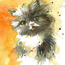 Custom Pet Portrait by Sketch Away - I love bright watercolors like this. The artist really captures the detail in the fuzz of this little kitty.