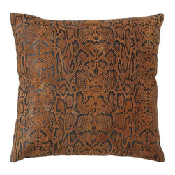 Benzara - Decorative Designer Real Leather Pillow with Hexagonal Texture - Add a splash of style and comfort to your indoors with this exquisite real leather pillow sporting authentic features. You can use its soft feel to enhance the comfort level of your bedroom with a distinct look. Apart from that, it is highly versatile, enabling it to be effectively used on the couch to make it more attractive and cozy. This pillow is designed with intrinsic details that flaunt its unique stitch and soft appeal. It is stuffed with royal cotton to ensure that it stays in its soft form for longer. It has been crafted with original snake leather that still retains its pattern and hexagonal texture. The craftsmen have worked to perfect levels to provide this unique pillow with a tough stitch on real leather for longer durability and hassle-free use..
