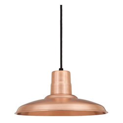 "THE LANCASTER WAREHOUSE SHADE CORD-HUNG CEILING LIGHT - 16"" Lancaster shown in 48-Raw Copper Finish & BLO-CB8 Mounting"
