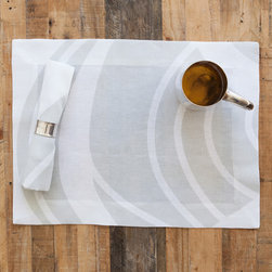 Huddleson Linens - Silver Swirl Linen Napkin (Set of Four) - Huddleson Linens - Silver and white linen placemats. Swirling, fluid two-color print grows, shrinks, curves and circles - but never ends. Gives a beautiful flow and depth to your table decor. Silver-grey and white linen placemats. 100% top quality, luxurious, soft Italian linen. Machine washable