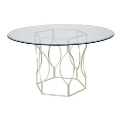 """Worlds Away - Worlds Away Abigail Silver Leafed Dining Table, 54"""" - Features:"""