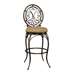 American Heritage - American Heritage Opus Stool in Portobello with Basil Fabric - 30 Inch - The striking elegance and charm of the Opus counter or bar stool will appeal to the most discerning of taste. The metal frame is finished in Portobello featuring an intricately designed, circular backrest and curved legs to add flair to the piece. The round, 3-inch cushioned seat is web woven for comfort and upholstered in basil fabric which is easy to clean. The stool has a 360-degree metal ball bearing swivel allowing for easy accessibility.