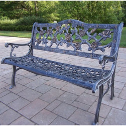 Oakland Living - Oakland Living English Rose Bench - 6008-AB - Shop for Benches from Hayneedle.com! The English Rose Bench will look wonderful by your front door or in your favorite spot in the backyard. This aluminum bench features stunning details of roses and branches making up the backrest. The seat features a woven pattern and is slightly contoured for comfort. Choose between antique bronze or antique pewter powder-coated finishes.