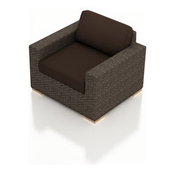 Harmonia Living - Arden Modern Patio Club Chair, Coffee Cushions - The Arden Outdoor Modern Club Chair with Brown Sunbrella® Cushions (SKU HL-ARD-CC-CH-CO) brings a cozy, rustic appeal to modern outdoor furniture. Its beautiful wicker is finished with a weathered Chestnut finish and is made from High-Density Polyethylene (HDPE), which ensures that the wicker will neither fade nor peel in regular sun exposure. What makes the Arden Collection unique is its high arms, modern style, and extra-plush cushions, all with a hint of classic traditional looks. Its teak feet elevate the seats in an attractive fashion that accent the wicker. The cushions are made from Sunbrella fabric, which is available in a large assortment of shades to give your Arden set the look that fits right into your outdoor space.