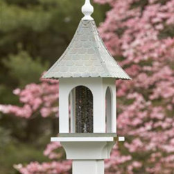 "Lazy Hill Loretta Feeder - Inviting beaded arch opening. White vinyl house with natural color shingles. 23"" H. 11"" sq."