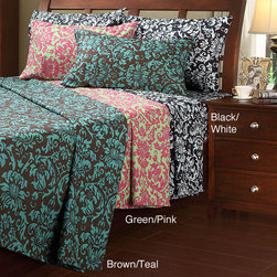 UHF - Damask Microfiber Full-size Sheet Set - Available in a range of color combinations,these damask full-size sheet sets will match any decor in your bedroom. The sets come with two sheets and two pillowcases made with 100 percent polyester microfiber and a sateen woven construction.