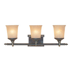 Designers Fountain - Designers Fountain 97303-WSD 3-Light Bath Bar - Weathered Saddle Finish, Satin Crepe Glass/Shade Handsomely styled ironwork and hand forged details display a casual rustic Spanish style.