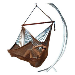 Jumbo Sized Mocha Brown Weather Resistant Rope Hammock Chair - Hammock chairs bring style and relaxation to any decor. This Jumbo sized mocha brown rope hammock chair is hand woven from soft spun polyester. Unlike cotton chairs, they will not rot, mold or mildew, and should last you for years. Woven into the body is an extra long extendable footrest that enables the user to really stretch out. The tropical hardwood spreader bar s a full 47 inches wide giving ample shoulder room for any sized person, and has multiple coats of marine varnish to protect it from the elements. It has a maximum capacity of 275 pounds. This chair hangs easily from one suspension point that is 7.5ft or higher. NOTE: It does not come with stand or mounting hardware.