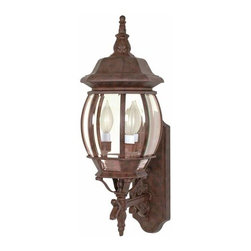 Nuvo Lighting - Central Park Old Bronze Outdoor Wall Mount - -Top to Outlet: 15  -Clear Beveled panels Glass Nuvo Lighting - 60/889