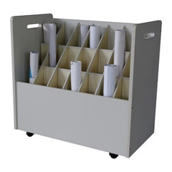 "Adir Corp - Mobile Wood Roll File 21 Compartments - ""Now it's easy to multi-task. With this easily mobile roll file, you can most efficiently deal with your various works-in-process. Chic and solid, it features 2"" swivel casters for ease of portability, a lovely vinyl laminate finish, and 21 square 3 3/4""compartments that hold your plans or rolled documents snugly. The perfect organizational solution! And assembly is a cinch."