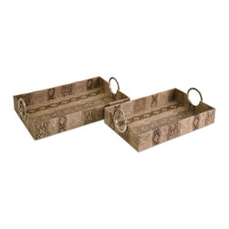 iMax - Castel Trays, Set of 2 - Snakeskin texture and contemporary geometric shapes are the basis for the set of two Castel trays.