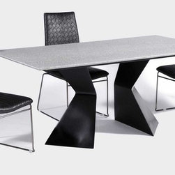 Elegant Rectangular Leather Dinner Table and Chairs - Grey rectangular table top with luxury black leather dining chairs. The collection is punctuated with stunning, neo-modern designs that usher elegance and glamour to modern settings.