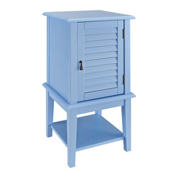 Powell Company - Ocean Blue Shutter Door Table - Both traditional and trendy, this attractive accent table works with many design schemes. Whether it serves as an end table or furnishes an entryway, this piece is fashionable and functional.   15.75'' W x 30'' H x 15.75'' D Medium-density fiberboard / wood Assembly required Imported