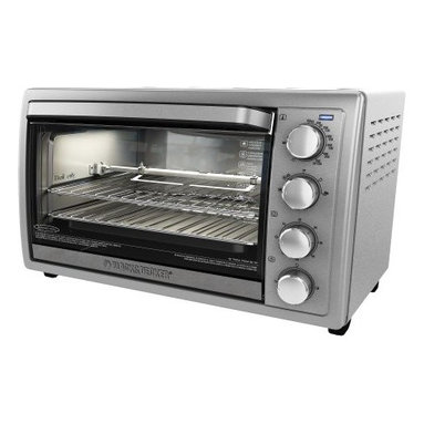 "Applica - Black Decker 9 Slice Rotis Convec Oven - Black and Decker 9-Slice Rotisserie Convection Countertop Oven Stainless fits up to 9-Slices or two 12"" pizzas at once or a full size chicken on the removable rotisserie rack! Removable Rotisserie Rack Included"