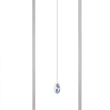 Air LED Suspension by Edge Lighting - Air LED suspension features a single suspended crystal, illuminated by 80 CRI, 3000K LED in the surrounding rectangular shade/frame. Finish in chrome.