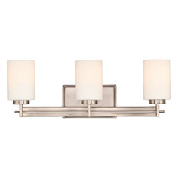Quoizel - Quoizel Antique Nickel Bathroom Fixtures - SKU: TY8603AN - Linear style and precise design are the elements of this strong contemporary collection. The opal etched glass compliments both the western bronze as well as the antique nickel finishes. With a variety of styles to choose from, Taylor will enhance any room in your home.