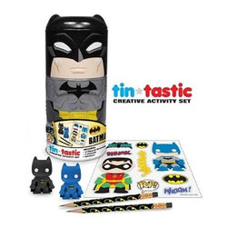 KOOLEKOO - Batman Classic DC Comics Tin - Batman holds onto your office supplies! This Batman DC Comics Can-Tivities Tin features The Caped Crusader as a cylindrical Can-Tivities can that comes with a Batman and Robin sticker sheet, 2 pencils, and 2 erasers.
