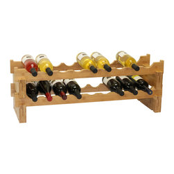 Oceanstar 18-Bottle Stackable Bamboo Wine Rack - The Oceanstar 2-Tier Stackable Bamboo Wine Rack is a stylish and fun way to store your wine collection. Made with 100% bamboo, the decorative wine rack is durable and versatile as it can be placed either side by side, stacked on top of each other, or placed separately in different areas.  It can hold up to 9 bottles on each tier and is fun and easy to assemble with no hardware or tools necessary. Just interlock the blocks and the wave bars together. The wavy style not only acts as the wine bottle holder but offers an aesthetic design that is pleasing to the eye. It is an elegant wine rack for the home and acts as a great gift for any wine collectors or enthusiasts.