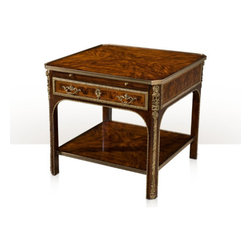 Theodore Alexander - Flourish Table - fine flame mahogany and brass lamp table, the square brass bound top above a frieze with a gold tooled leather inset slide and a brass mounted frieze drawer, on ebonised canted and chamfered legs with arched spandrels applied with a fine cast brass edge, the legs with Caryatid mounts joined by a brass bound undertier.