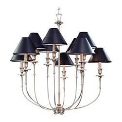 Hudson Valley - 10 Light Chandelier - Jasper's slender arms blossom in rose shaped silhouettes. Botanically inspired bobeches unfold to reveal the candle cup's flowering figure. The juxtaposition of Jasper's obsidian shade to our nickel finishes highlights the metal's warm characteristics. Bright and reflective, Polished Nickel invokes a current sensibility that is tempered by its welcoming, warm tone. Flat planes possess mirror-depth in this plating, while curves show their lively contours. Polished Nickel also highlights the versatility