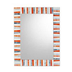 "Mosaic Mirror - Orange, White, Gray, 27"" X 21"", Vertical - MIRROR DESCRIPTION"