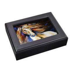 Westland - White Horse Staring off in The Distance Black Music Box Photo Frame - This gorgeous White Horse Staring off in The Distance Black Music Box Photo Frame has the finest details and highest quality you will find anywhere! White Horse Staring off in The Distance Black Music Box Photo Frame is truly remarkable.