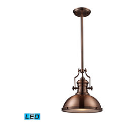 Elk Lighting - EL-66144-1-LED Chadwick LED 1-Light Pendant in Antique Copper - The Chadwick Collection reflects the beauty of hand-turned craftsmanship inspired by early 20th century lighting and antiques that have surpassed the test of time. This Robust Collection features detailing appropriate for classic or transitional decors. White glass compliments the various finish options including polished nickel, satin nickel, and antique copper. Amber glass enriches the oiled bronze finish. - LED offering up to 800 lumens (60 watt equivalent) with full range dimming. Includes an easily replaceable LED bulb (120V).