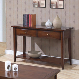 Wildon Home � - Calabasas Console Table - Features: -Simple metal knobs.-Contemporary style.-Chambered drawer fronts, clean lines, shaped legs.-Two storage drawers, one large lower shelf.-Smooth tops with straight edges.-Hardwood solids and maple veneers construction.-Walnut finish.-Calabasas collection.-Collection: Calabasas.-Distressed: No.Dimensions: -Overall Product Weight: 66.87 lbs.