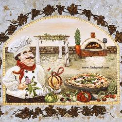 Italian Pizza Kitchen Original Framed painting by Linda Paul - Italian Pizza Kitchen