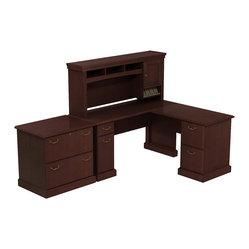 "Bush - Bush Syndicate 60"" L-Shape Desk with Storage in Harvest Cherry - Bush - Office Sets ..."