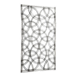 Large Circle Patterned Iron Wall Sculpture - Hello, modern luxury. You've just updated your home to include this stunning, abstract graphite finish Large Circle Patterned Iron Wall Sculpture. Minimalistic and inspiring, this piece will breathe life into your living room. Sit back, pour yourself a glass of wine, and admire this fine touch of sophistication. You deserve it.