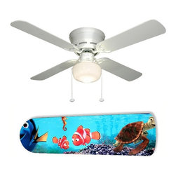 """Finding Nemo Stars 42"""" Ceiling Fan and Lamp - 42-inch 4-blade ceiling fan with a dome lamp kit that comes with custom blades. It has a white flushmount fan base. It has an energy efficient 3-speed reversible airflow motor for year long comfort. It comes with complete installation/assembly instructions. The blades can be cleaned with a damp cloth. It is made with eco-friendly/non-toxic products. This is brand new and shipped in the original box. This is not a licensed product, but is made with fully licensed products. Note: Fan comes with custom blades only."""