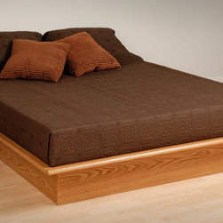 Prepac Modern Platform Bed in Oak - This Platform Bed in Oak by Prepac Furniture is an easy to assemble product made from a mixture of composite woods with a laminated finish.
