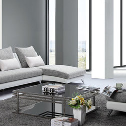 Tosh Furniture - Tosh Furniture Modern Sectional Sofa & Chair in Microfiber - It just doesn't get any better than this. This Tosh Furniture three piece collection offers easy comfort via its casual design, smart color combinations and open presentation. Incorporating soft gray and white, this design is absent the arms, lending to its modern look. With one piece cushions as the seating and oversized cushions as the back, the smaller accent pillows add even further dimension to this Tosh Furniture beauty. With a stacked appearance that accents the base and seating area and naturally reclined seat backs, there's a sophistication present that's often lacking from other modern living furniture collections. The angled chrome legs finish the look. - TOS-FF-F891.  Product features: Set includes: sectional sofa and chair, Material: Microfiber. Product includes: Sectional (1); Chair (1). Modern Sectional Sofa & Chair in Microfiber by Tosh Furniture.