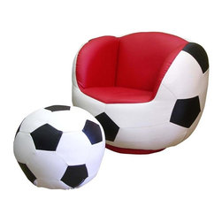 ORE International - Sturdy Soccer Kids Chair & Ottoman Set in Whi - Includes chair and ottoman. Swivel. Soccer shape design. Comfortable seating. Red accent on seat and back. Made from polyester fiber and foam . 30 Days warranty. Chair: 27 in. W x 25 in. D x 23 in. H. Ottoman: 16 in. L x 15 in. W x 12 in. H. Overall weight: 60 lbs.A delightful accent for your child's room with this sport themed chair and ottoman set. It offers a perfect place for your kids to rest after a long day of school or play. Perfect for anyone who loves soccer, this cute chair and matching ottoman are crafted from sturdy yet soft material to provide a comfortable support. Your little ones will surely love relaxing in this chair when reading a book or watching games on television. With its extremely inviting design, children will slip right into the chair and will never want to sit anywhere else.