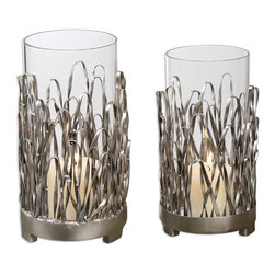 Corbis Candleholders Set/2 - Hand Forged Metal With A Silver Finish And Light Champagne Highlights. Distressed Beige Candles Included.