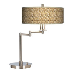 Giclee Gallery - Seagrass Giclee CFL Swing Arm Desk Lamp - Adjustable convenience and classic style make this swing-arm desk lamp a perfect fit. This energy efficient desk lamp features a patterned canvas drum shade and a sleek brushed steel finish. An adjustable swing arm and an on/off switch on the base offer convenience. A diffuser at the top of the drum shade prevents glare. Printed with a special giclee process which allows for rich color and intricate detail, the canvas shade of this desk lamp features a woven seagrass pattern. This shade is custom made-to-order. Please note, this shade uses a printed pattern and not actual seagrass. U.S. Patent # 7,347,593.