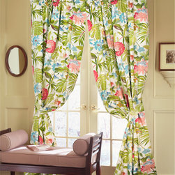 Rose Tree - St Croix Cotton Window Panels 2-piece Set - This panel set comes with two panels and tie backs. These St Croix panels have a Floral pattern and provide a luxurious look.