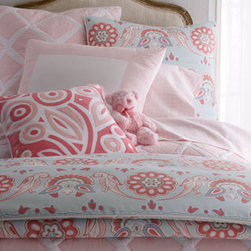 SERENA & LILY - Traditional Shams - Soft and sweet. Annabel bed linens by Serena & Lily. All of cotton. Machine wash. Aqua-ground duvet cover and European sham are printed with regal birds and bright blooms. Made in Portugal of 300-thread-count cotton sateen. Standard sham with pink frame is 230-thread-count cotton sateen. Made in Portugal. Quilt and European sham with hand-applied diamond pattern are made of stonewashed cotton percale. Choose color below. Imported. Shell-pink and white trellis-patterned sheet sets are made in Portugal of 300-thread-count cotton sateen. Sets include flat and fitted sheets and pillowcase(s). Twin set has one standard pillowcase; full and queen sets have two standard pillowcases. Hand-appliqued Punch Bloom pillow is made cotton with a feather/down fill. Imported.