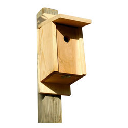 Heartwood - Eastern Bluebird and Swallow Joy Box Bird House - This  beautiful  birdhouse  is  the  perfect  addition  to  any  home  or  garden  of  your  choice.  Season  after  season,  this  delightful  nesting  box  is  a  joy  to  behold  and  a  breeze  to  maintain  thanks  to  the  easy  twist  latch  and  side-front  panel  that  also  inverts  for  winter  roosting.  Rugged  construction  features  13/16  solid  cypress  and  headed  ring  shank  stainless  steel  nails.  This  bird  house  is  one  you  are  sure  to  enjoy  in  the  years  to  come.  Also  sized  for  all  variety  of  residents.                  6-1/2x10x17              1-1/2  hole              Handcrafted  in  USA  from  renewable,  FSC  certified  wood