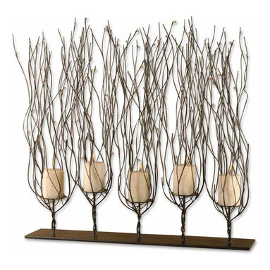 Uttermost - Fedora Dark Brown Candleholder - Catch a falling star. Candles in trees, accented by falling stars. That's what you'll see when you light this elaborate candleholder. The dark brown finish of trees in the forest and the clear beads mimic stars. Wait until you light the candles.