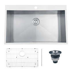 Ruvati - Ruvati RVH8000 Overmount Kitchen Sink - A new landmark in over mount design. The deep, square Kitchen Sinks and zero-radius corners of the Tirana series will easily drop into the trendiest of kitchens. Each Tirana sink comes pre-drilled with a single hole for the faucet, but additional holes can be drilled at the time of purchase.