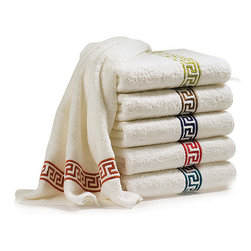 Matouk Jordan Towels - The crisp geometric lines of this ancient motif work beautifully as a trim on everything from sofas and curtains to towels and sheets, and in modern and traditional interiors alike. These plush Egyptian cotton towels would be a fun upgrade from standard white.