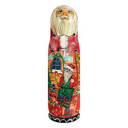 """Wood Carved Russian Matreshka Santa Claus Workshop Bottle Holder - Measures 15""""H x 4""""L x 4""""W and weighs 1.5 lbs. Open this Matreshka bottle holder from the middle to store a bottle of wine or vodka. It was created in the art villages of Russia and Ukraine. It is freehand painted and rich in color to our exacting standards for a lifetime of beautiful memories. This matreshka bottle holder is made to be hollow inside to hold a bottle of wine or vodka and makes a great gift for a housewarming party, wedding, anniversary, birthday or just for yourself to decorate your bar. It can be valued as a collectible. This item is beautifully handmade by a Eastern European artist. Each doll tells a story and is freehand painted in rich colors."""