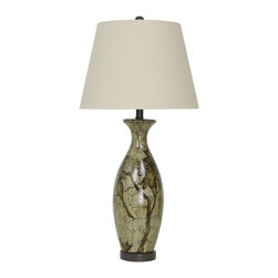"""Lamps Plus - Traditional Ravenna Vase Eggshell Hand-Painted Table Lamp - Sophisticated hand-painted jug table lamp. Eggshell glaze finish. Hand-painted bird motif. Bronze finish base and accents. Ceramic and metal construction. Off-white shade. Round base. Three-way switch. Takes one maximum 150 watt 3-way or equivalent bulb (not included). 31"""" high. Shade is 11"""" wide on top 16""""wide on the bottom and 11 1/2"""" high. Base is 7"""" wide.  Sophisticated hand-painted jug table lamp.  Eggshell glaze finish.  Hand-painted bird motif.  Bronze finish base and accents.  Ceramic and metal construction.  Off-white shade.  Round base.  Three-way switch.  Takes one maximum 150 watt 3-way or equivalent bulb (not included).  31"""" high.  Shade is 11"""" wide on top 16""""wide on the bottom and 11 1/2"""" high.  Base is 7"""" wide."""
