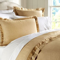 Linen with Silk Trim Duvet Cover, Full/Queen, Wheat - Made of a refined linen blend with a silky flange, our bedding is equal parts luxurious and casual. Made of a linen/cotton blend. Duvet cover and sham reverse to cotton satin. Duvet cover has interior ties and a button closure; sham has an envelope closure. Duvet cover, sham and insert sold separately. Machine wash. Imported.